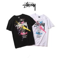 """Stussy"" Fashion Casual Male Female Loose Cotton Inked Print Letter Embroidery Round Neck Short Sleeve Couple T-shirt"