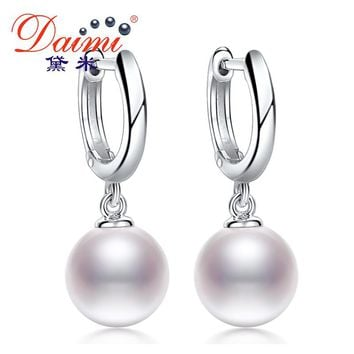 DAIMI Pearl Earrings Lever Back 925 Silver & Real 7-8mm Round Freshwater pearl Drop Earring Dangle Earrings DARLENE