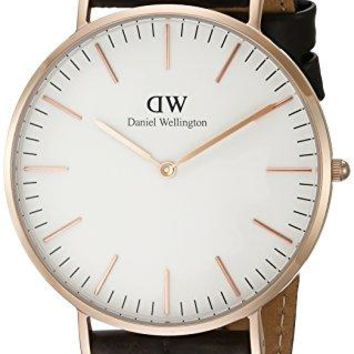 Daniel Wellington Men's 0111DW Classic York Stainless Steel Watch With Brown Leather Band