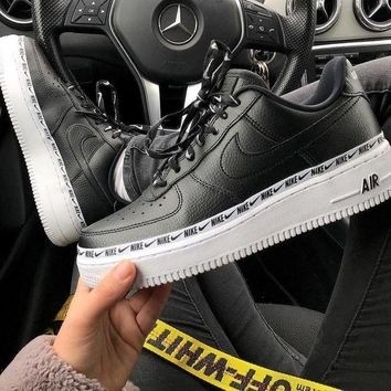 Nike Air Force 1 AF Fashion Women Men Casual Sport Running Shoes Sneakers Black