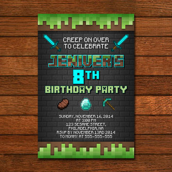Minecraft Birthday Wall Stone Invitation