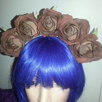 Flower crown, day of the dead, rose crown, brown rose, crown, Halloween,  Brown crown, floral crown