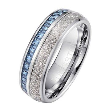 8mm Tiitc Rings Tungsten Carbide Meteorite with Blue Carbon Fiber Wedding Engagement Band