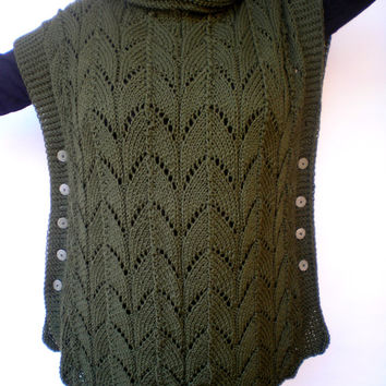 Olive Green Oversized Tunic Sweater Hand Knit Woman Trendy Lace Plus Size Tunic Poncho Fall Woman NEW