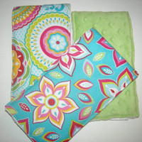 Circles & Flowers Burp Cloths (Set of 3)