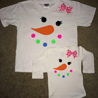 Snowman Shirt - Snowman Onesuit - Adult Snowman ShirtWinter Baby Clothing  - Long Sleeve Onesuit - Ruffles with Love - Baby Clothing - RWL