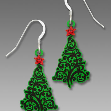 Sienna Sky Earrings - Christmas Tree with Swirl Design and Red Star