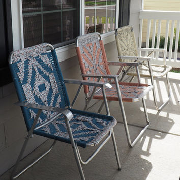TRIO of Vintage Macrame Aluminum Folding Lawn Chairs