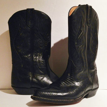 Vintage Black Quality Craftmanship SanchoCowboy Boots Spainish - Leather w Skin Inserts 80s Size 38 US 7