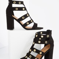 Black Grommet Caged Shootie by Qupid® | Heeled Sandals | rue21