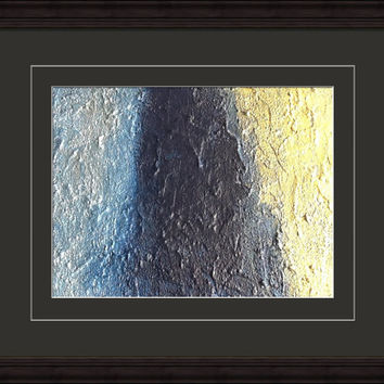 Wonderwall Gold and silver painting. Blue and gold painting Silver painting Gold painting 8x10 painting Metal wall art Textured art Blue art