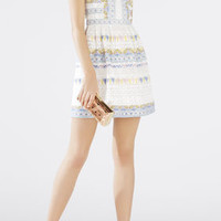 Cecile Lace and Print-Blocked Halter Dress - White