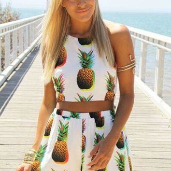 ICIK6HW Fashion Pineapple Print Halter Sleeveless Backless Crop Tops Vest Shorts Casual Set Two-Piece