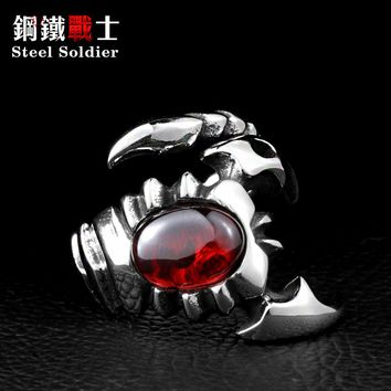 Steel soldier Scorpion Ring Fashion Jewelry Stainless Steel CZ Cool Exaggerated Personality Ring
