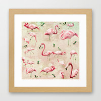 Flamingos Vintage Pink Framed Art Print by Lisa Argyropoulos