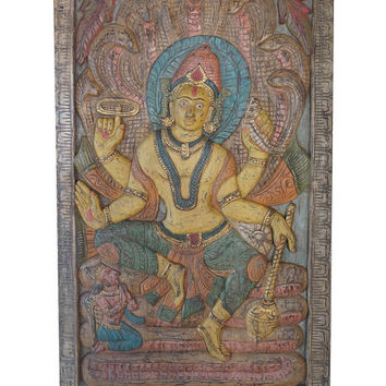 Vintage Hand Carved Door Panel Vishnu Sitting On Sheshnaga India Carving Wall Sculpture, Eclectic Interior CLEARANCE SALE