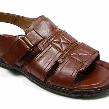 Mens Majestic Open Toe Back Sling Caged Sandals 72587 Chocolate
