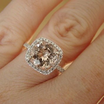Large Halo Peach Morganite Diamond Ring Gemstone Engagement Ring Custom Cushion Round Halo Setting 14K White Gold