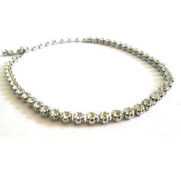 Silver Clear Rhinestone Choker Necklace 1950s