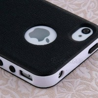 Pandamimi Dexule Black White Fashion Sweety Girls TPU and PC 2-Piece Style Hard Case Cover for iPhone 4 4S with Screen Protector