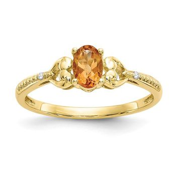 10k Yellow Gold Genuine Oval Citrine Diamond Accents Hearts Ring