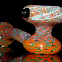 The Ultimate Sherlock Party Pipe - Huge Orange Green & Hot Pink Smoking Piece with Large Deep Party Size Bowl