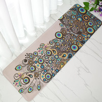 Vintage Peacock Doormat Anti-Slip Coral Floor Mat Door Mat Long Carpet Home Textile Rug 40x120cm Rug Long Mats