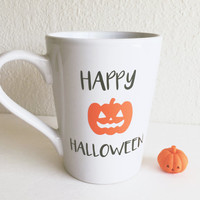 Happy Halloween Pumpkin Mug // White - Multi-purpose Container - Coffee Mug - Makeup Holder - Decor - Drinking Mug