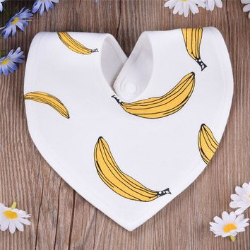 2017 Newborn Baby Bibs Cotton Towel Triangel Plaid Fruits Print Bandana Toddler Scarf Baberos Bebes Infant Burp Cloth 3-18M