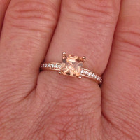 Pale Peach Tourmaline Asscher Cut in 14k Rose Gold Diamond Accented Engagement Ring Morganite Alternative