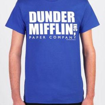 The Office Dunder Mifflin Paper Company Logo Licensed Adult Unisex T-Shirt -Blue