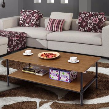 Metal Frame Accent Coffee Table with Storage Shelf