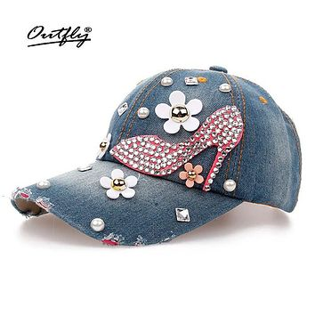 High Quality Rhinestones Jean Leisure CAP snapback Baseball Cap Fashion Vintage Female Casual Cap high-heeled shoes Denim hat 29