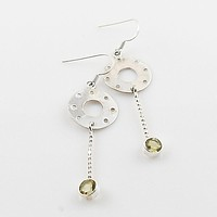 Citrine Sterling Silver Disk Earrings