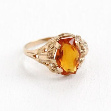 Vintage 10k Yellow Gold Citrine Ring - Size 4 Art Deco 1930s 1940s Filigree Orange Gemstone Fine Jewelry