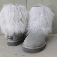 UGG FUR CUFF SHEEPSKIN GRAY BOOT, US 7 EU 38 UK5.5 WILD AND FLUFFY! MONGOLIAN!