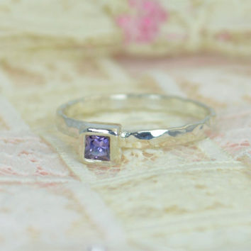 Amethyst Engagement Ring, Sterling Silver, Amethyst Wedding Ring Set, Rustic Wedding Ring Set, February Birthstone, Square Sterling Amethyst