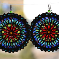 Hoop earrings, gift for her, Woven, Beaded, Native art, handmade, Crochet, Boho Chic Colorful Glass Bead Jewelry, Hippie Accessories.
