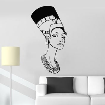 Vinyl Wall Decal Portrait Beautiful Nefertiti Egyptian Queen Egypt Stickers Mural Unique Gift (ig5045)