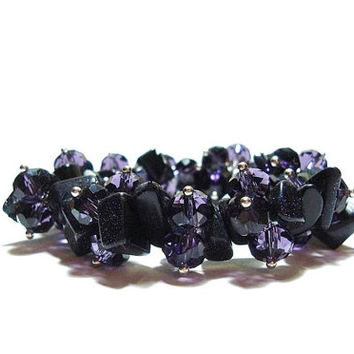 Genuine Blue goldstone  Gemstone  And  Amethyst  Crystal  Stretch  Bracelet