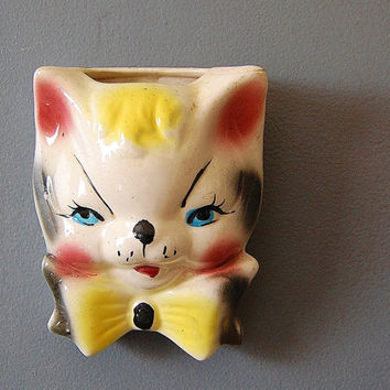 Cat Decor Ceramic Wall Pocket Kitty in Bowtie by SeeDollyRun