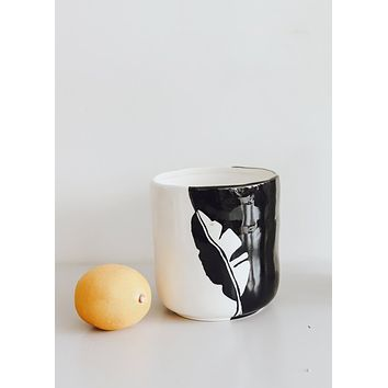 Black and White Ceramic Pot with Leaf Pattern
