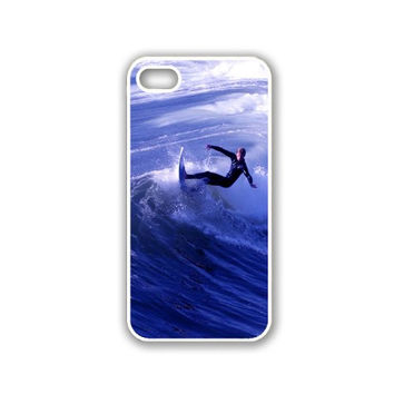 Surfer Surfing Waves iPhone 5 White Case - For iPhone 5/5G White Designer Plastic Snap On Case