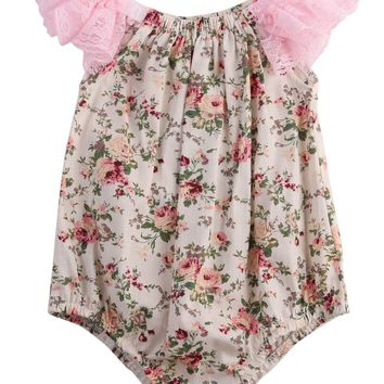 Newborn Infant Baby Girl Lace Patchwork Floral Romper Jumpsuit Outfits Sunsuit Clothes