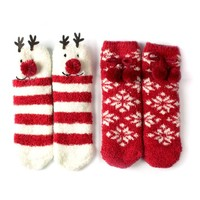 Red Bene Women's Christmas Fuzzy Socks Bundle 2 Pairs