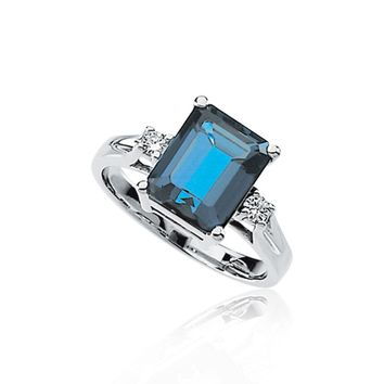 London Blue Topaz & 1/10 Ctw Diamond Accent Ring in 14K White Gold