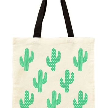 Rows of Cactus Printed Canvas Tote Bag
