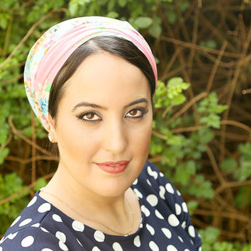 Multi colored head scarf – Floral headcovering  – Hair snoods – Cotton Headpiece