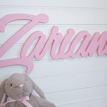 Nursery Name Sign Baby Plaque Large Painted Personalized Nu