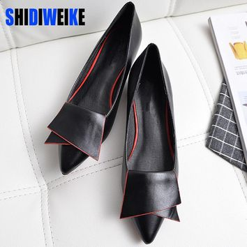 SHIDIWEIKE 2017 New Pointed Toe Low Heel Pumps Black Red White Shallow Mouth 1.5cm Thi